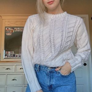 Vintage Cream Cable Knit Sweater